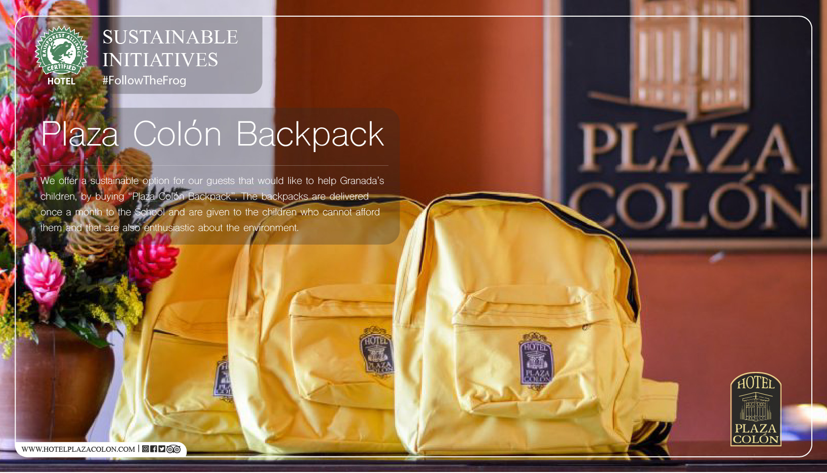 Sustainable hotel school backpack